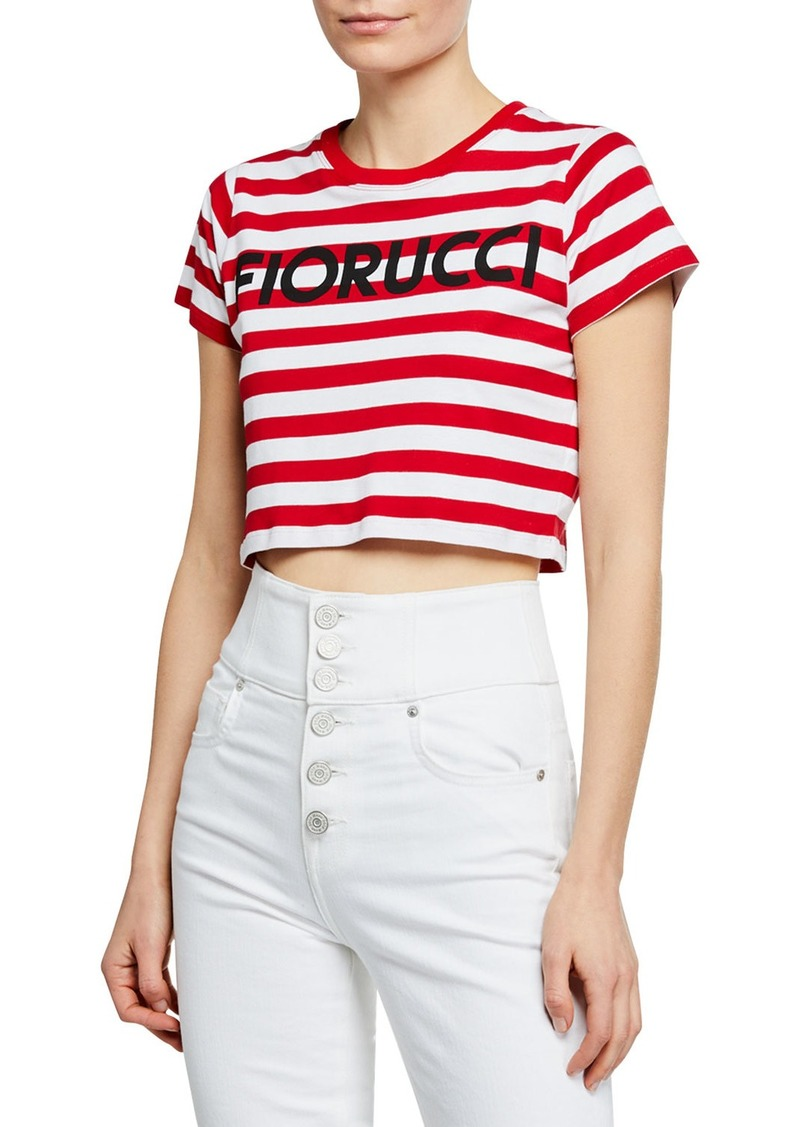 Striped Logo-Graphic Short-Sleeve Cropped Tee