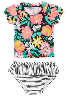 First Impressions 2-Pc. Tropical-Print & Striped Tankini Swimsuit, Baby Girls, Created for Macy's