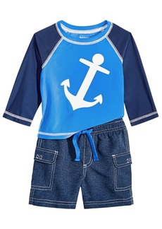 First Impressions Baby Boys 2-Pc. Anchor-Print Rash Guard Set, Created for Macy's