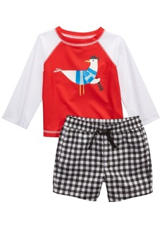 First Impressions Baby Boys 2-Pc. Seagull Rash Guard & Swim Trunks Set, Created for Macy's