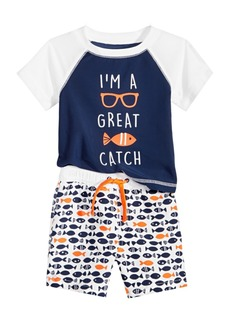 First Impressions Baby Boys 2-Pc. Fish-Print Rash Guard Set, Created for Macy's