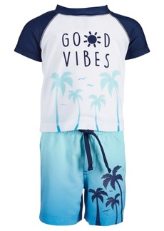 First Impressions Toddler Boys 2-Pc. Good Vibes Rash Guard & Swim Trunks Set, Created for Macy's