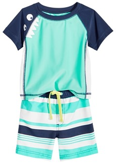 First Impressions Baby Boys 2-Pc. Monster & Striped Rash Guard Set, Created for Macy's