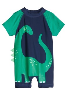 First Impressions Baby Boys Colorblocked Dino-Print Rash Guard Romper, Created for Macy's