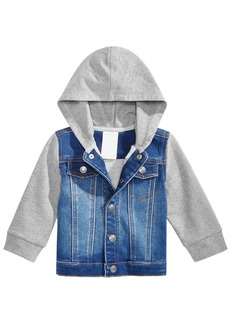 First Impressions Baby Boys Layered-Look Hooded Denim Bomber Jacket, Created for Macy's