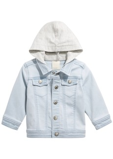 First Impressions Baby Boys Light Wash Mixed Media Hooded Denim Jacket, Created for Macy's