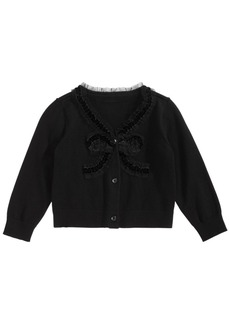 First Impressions Baby Girls Bow-Front Cotton Cardigan, Created for Macy's