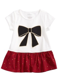 First Impressions Baby Girls Bow Plaid Peplum Tunic, Created for Macy's