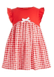 First Impressions Baby Girls Gingham-Print Bow Dress, Created for Macy's