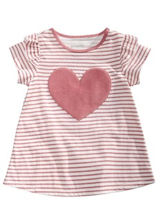 First Impressions Baby Girls Short Sleeve Stripe Heart Tunic, Created for Macy's