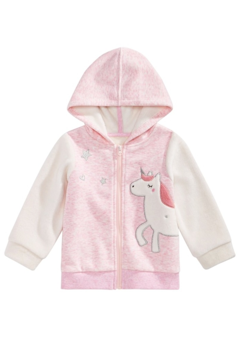 23f515c68750 First Impressions First Impressions Baby Girls Zip-Up Unicorn Hoodie ...