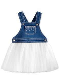 First Impressions Embroidered Denim & Tulle Jumper Dress, Baby Girls, Created for Macy's