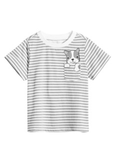 First Impressions Toddler Boys Striped Dog-Pocket Cotton T-Shirt, Created for Macy's