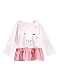 First Impressions Toddler Girls Bunny-Print Cotton Peplum Tunic, Created for Macy's
