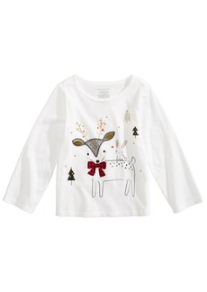 First Impressions Baby Girls Deer-Print Cotton T-Shirt, Created for Macy's