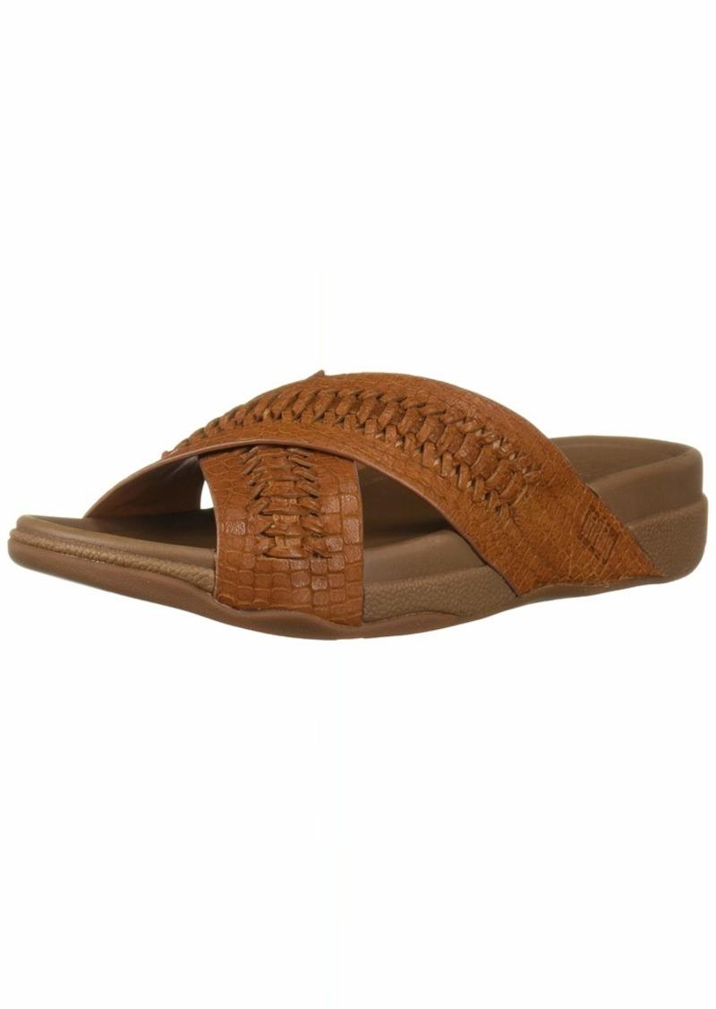 FitFlop Men's Surfer Slide Woven Leather Croc-Emboss Sandal   M US