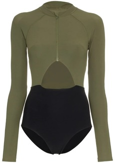 Flagpole Kelly High-Neck Zip Front Long-Sleeved Swimsuit