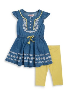 FLAPDOODLES Girls 2-6x Little Girls Chambray Dress and Leggings Set