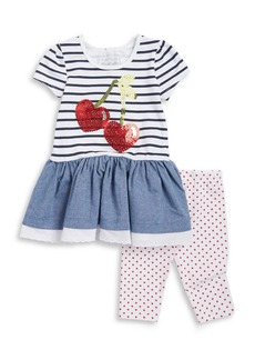 FLAPDOODLES Girls 2-6x Little Girls Sequined Cherry Dress and Leggings Set