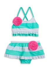 FLAPDOODLES Girls 2-6x Ruffled Floral Bikini Swimsuit Set