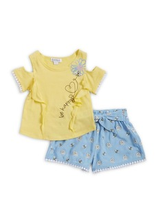 Flapdoodles Little Girl's Two-Piece Cold-Shoulder Top and Printed Shorts Set