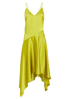 Fleur Du Mal Asymmetric Silk Slip Dress