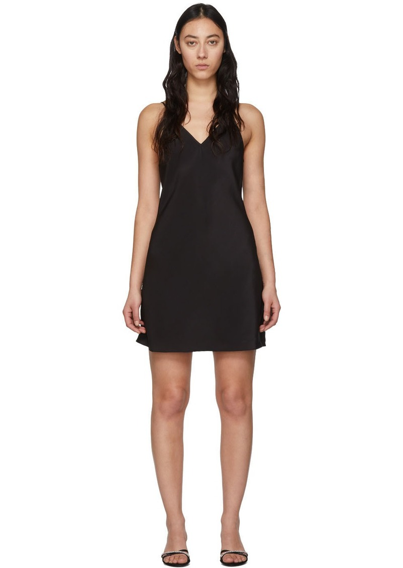 Fleur Du Mal Black V-Neck Essential Slip Dress