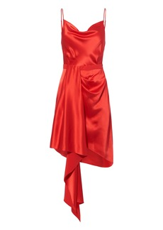 Fleur Du Mal Cascade Red Satin Dress