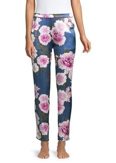 Fleur Du Mal Contrast Back Seam Silk Pajama Pants