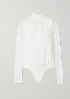 Fleur Du Mal Cutout Silk-chiffon And Stretch-tulle Turtleneck Thong Bodysuit