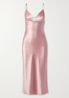 Fleur Du Mal Cutout Silk-satin Midi Dress