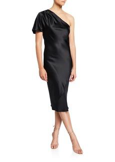 Fleur Du Mal One-Shoulder Bias Slip Dress