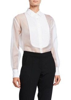 Fleur Du Mal Organza Button-Down Shirt with Bib