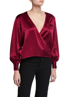 Fleur Du Mal Silk Long-Sleeve Wrap Blouse