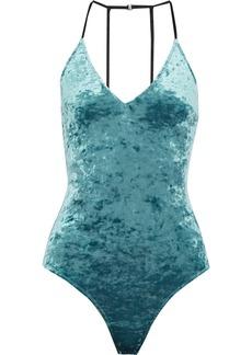 Fleur Du Mal Woman Crushed-velvet Bodysuit Jade