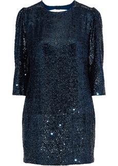 Fleur Du Mal Woman Open-back Sequined Crepe Mini Dress Teal