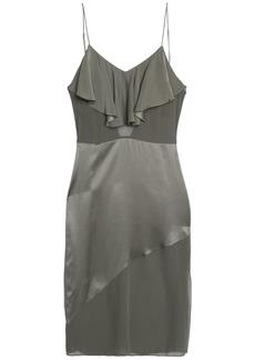 Fleur Du Mal Woman Ruffled Silk-charmeuse And Crepe De Chine Midi Slip Dress Grey Green
