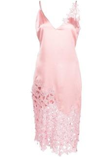 Fleur Du Mal floral-lace trimmed silk dress