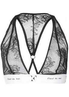 Fleur Du Mal logo trim lace triangle bra