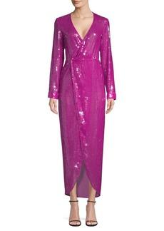 Fleur Du Mal Long Sequin Wrap Dress