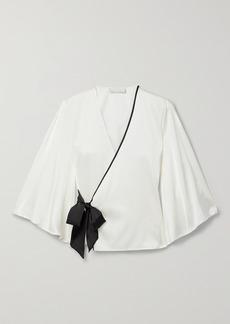 Fleur Du Mal Silk-blend Charmeuse Wrap Pajama Top