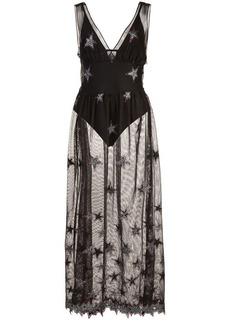 Fleur Du Mal Superstar V-neck mesh dress