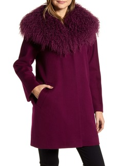 Fleurette Wool Coccon Coat with Genuine Lamb Fur Trim (Nordstrom Exclusive)