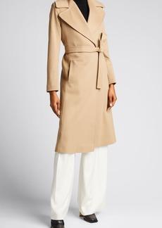 Fleurette Wool Notch-Collar Wrap Coat