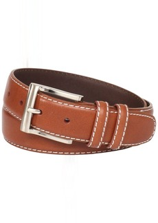 Florsheim Men's Casual Full Grain Leather Belt with Contrast Stitched Edge
