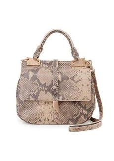 Foley + Corinna Dione Cerberus Snake-Embossed Leather Saddle Bag