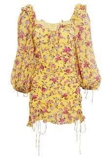 For Love & Lemons Beaumont Floral Silk Mini Dress