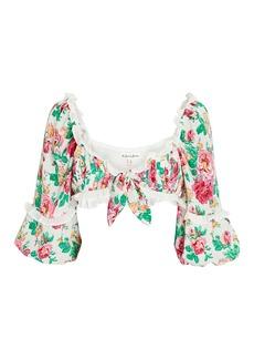 For Love & Lemons Becca Floral Tie-Front Crop Top