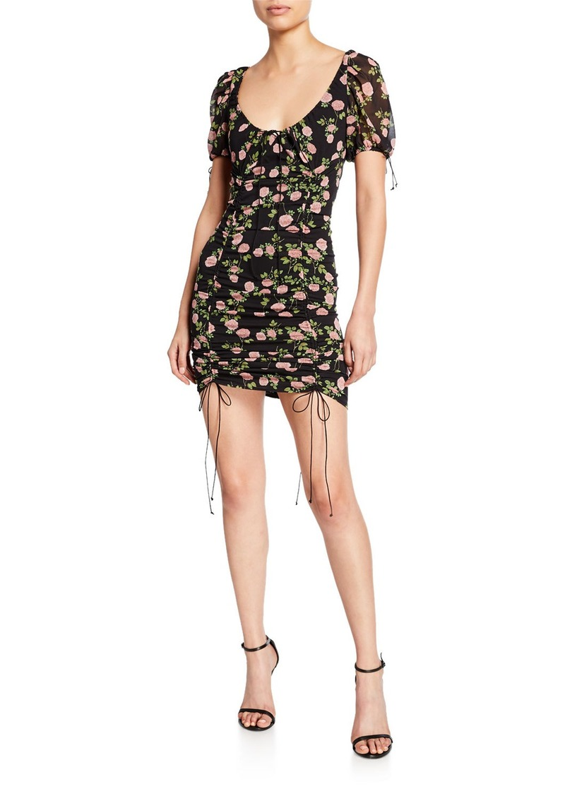 For Love & Lemons Biscotti Floral-Print Fitted Mini Dress with Ties