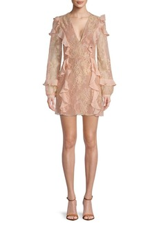 For Love & Lemons Bumble Ruffle Long-Sleeve Mini Dress